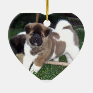 American Akita Puppy Dog Ceramic Heart Decoration