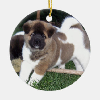 American Akita Puppy Dog Ceramic Ornament