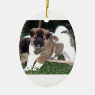 American Akita Puppy Dog Ceramic Oval Decoration