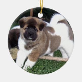 American Akita Puppy Dog Round Ceramic Decoration