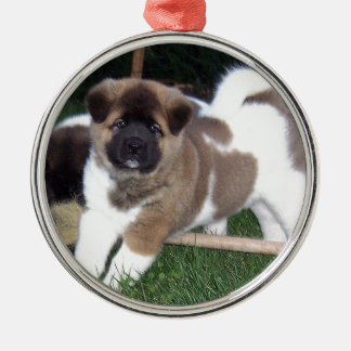 American Akita Puppy Dog Silver-Colored Round Decoration