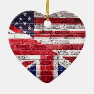 American and British flag. Ceramic Heart Decoration