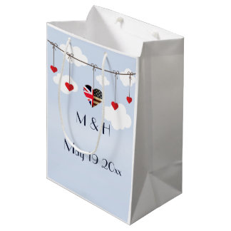 American and British flags, Heart Royal Wedding Medium Gift Bag
