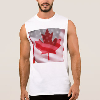 American and Canadian flags sleeveless t-shirt
