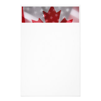 American and Canadian flags stationery