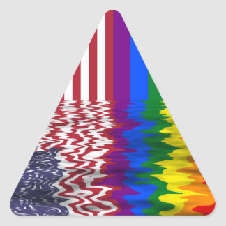American And Rainbow Flags Reflected Triangle Sticker