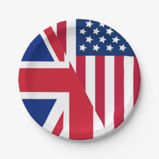 American and Union Jack Flag Paper Plate
