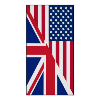 American and Union Jack Flag Poster
