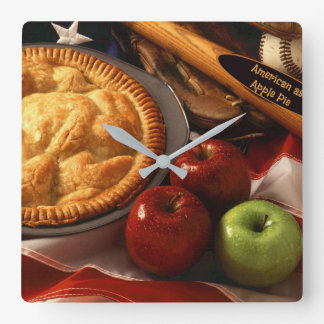 American as Apple Pie Square Wall Clock