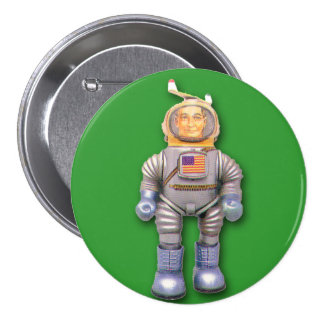 American Astronaut Toy Robot Round Button