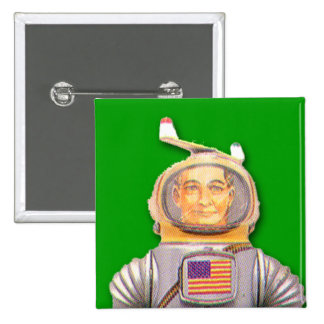 American Astronaut Toy Robot Square Button