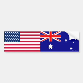 American & Australian Flags Bumper Sticker