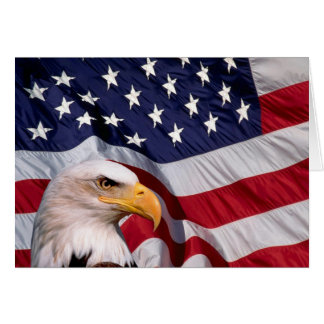 American Bald Eagle and American Flag Greeting Card