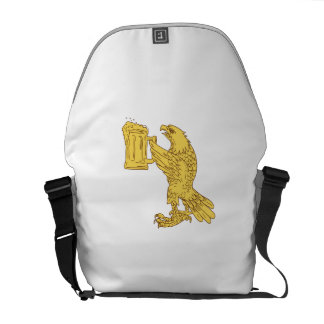 American Bald Eagle Beer Stein Drawing Courier Bags