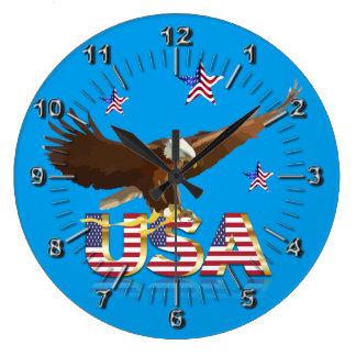 American bald eagle large clock