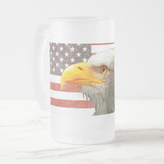 American Bald Eagle on an American Flag Frosted Glass Beer Mug
