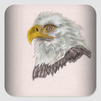 American Bald Eagle Patriotic Art Square Sticker