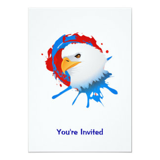 American Bald Eagle Red White & Blue Paint Spatter Card