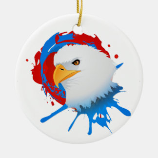 American Bald Eagle Red White & Blue Paint Spatter Ceramic Ornament