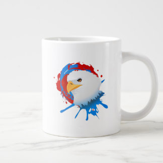 American Bald Eagle Red White & Blue Paint Spatter Giant Coffee Mug