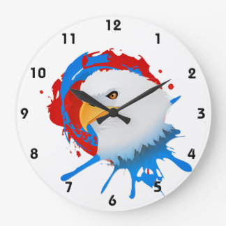 American Bald Eagle Red White & Blue Paint Spatter Large Clock