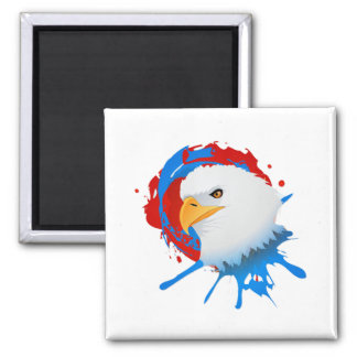American Bald Eagle Red White & Blue Paint Spatter Magnet