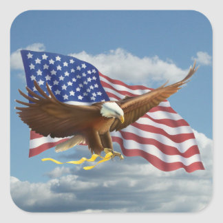 American Bald Eagle Square Sticker
