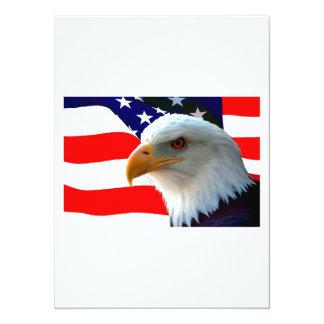 """American Bald Eagle & U.S. Flag 5.5"""" X 7.5"""" Invitation Card"""