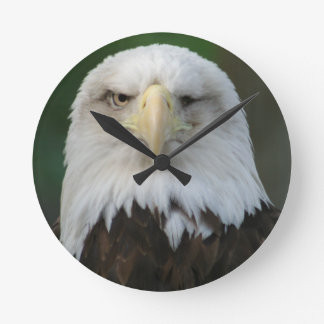 American Bald Eagle Wall Clock With One Eye
