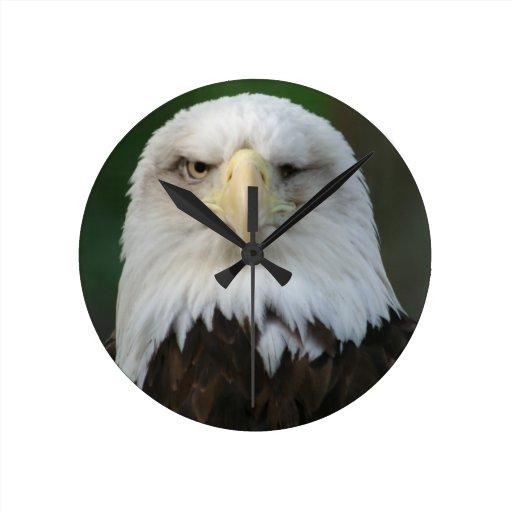 American Bald Eagle Wall Clock With One Eye