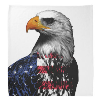 American Bald Eagle wrapped in the Flag of the USA Kerchiefs