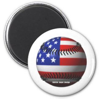 American Baseball 6 Cm Round Magnet
