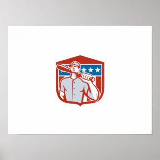 American Baseball Batter Bat Shield Retro Posters