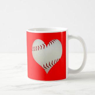 American Baseball In A Heart Shape Basic White Mug