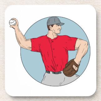 American Baseball Pitcher Throwing Ball Circle Dra Coaster
