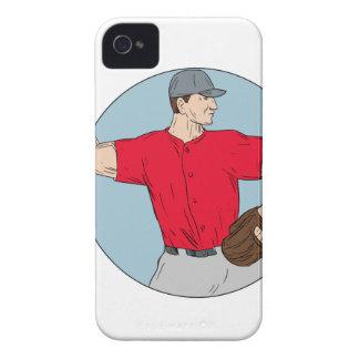 American Baseball Pitcher Throwing Ball Circle Dra iPhone 4 Case-Mate Case