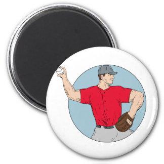 American Baseball Pitcher Throwing Ball Circle Dra Magnet