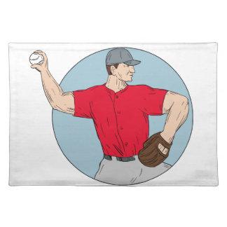 American Baseball Pitcher Throwing Ball Circle Dra Placemat