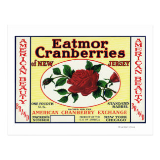 American Beauty Eatmor Cranberries Brand Label Postcard