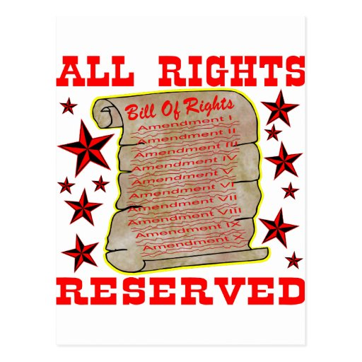 American Bill Of Rights All Rights Reserved Post Cards