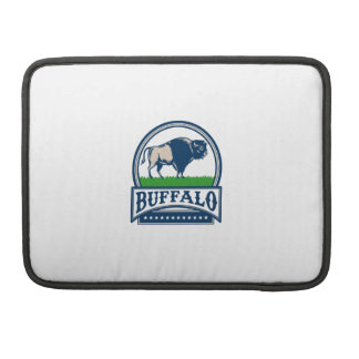 American Bison Buffallo Banner Circle Woodcut Sleeve For MacBooks