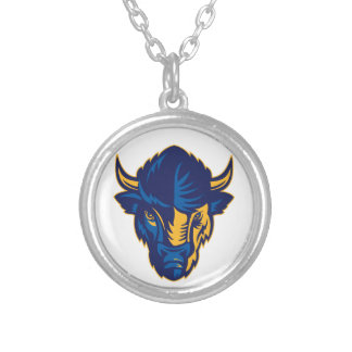American Bison Head Retro Silver Plated Necklace