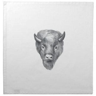 American Bison Head Watercolor Napkin