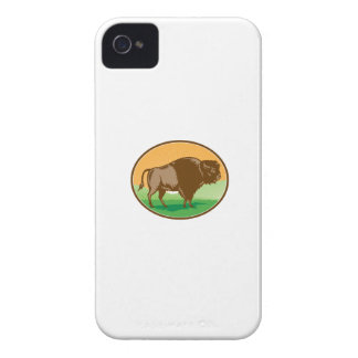 American Bison Oval Woodcut iPhone 4 Cases
