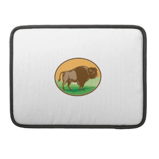 American Bison Oval Woodcut Sleeve For MacBooks