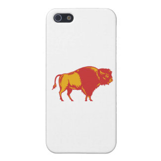 American Bison Side Woodcut iPhone 5 Case