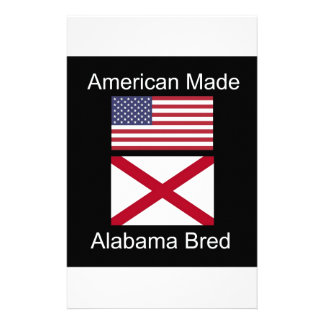 """""""American Born..Alabama Bred"""" Flags and Patriotism Stationery Design"""