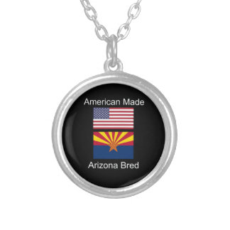 """American Born..Arizona Bred"" Flags and Patriotism Silver Plated Necklace"