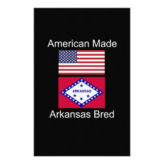 """American Born..Arkansas Bred"" Flag Design Customized Stationery"
