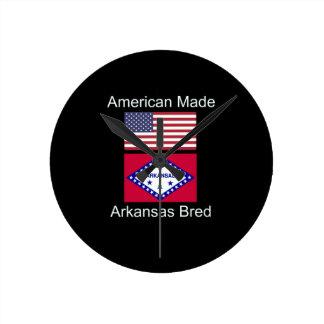 """American Born..Arkansas Bred"" Flag Design Round Clock"